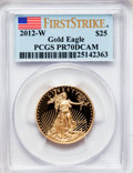 Modern Bullion Coins, 2012-W $25 Half-Ounce Gold Eagle, First Strike PR70 Deep CameoPCGS. PCGS Population (156). NGC Census: (0). (#512110)...