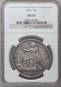 Trade Dollars: , 1877 T$1 AU53 NGC. NGC Census: (17/333). PCGS Population (24/332).Mintage: 3,039,710. Numismedia Wsl. Price for problem fr...