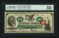 Large Size:Legal Tender Notes, Fr. 95b $10 1863 Legal Tender PMG About Uncirculated 55 EPQ.. ...