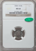 Seated Half Dimes: , 1838 H10C Large Stars, No Drapery MS64 NGC. CAC. NGC Census:(152/143). PCGS Population (98/73). Mintage: 2,225,000. Numism...