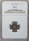 Seated Half Dimes: , 1847 H10C MS64 NGC. NGC Census: (43/29). PCGS Population (30/35).Mintage: 1,274,000. Numismedia Wsl. Price for problem fre...