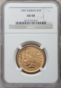 Indian Eagles: , 1907 $10 No Periods AU58 NGC. NGC Census: (797/4991). PCGSPopulation (838/4331). Mintage: 239,400. Numismedia Wsl. Price f...