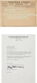 Music Memorabilia:Documents, Elvis Presley Historic Telegram from Las Vegas International Hotel (December 19, 1969)....