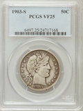 Barber Half Dollars: , 1903-S 50C VF25 PCGS. PCGS Population (8/128). NGC Census: (2/81).Mintage: 1,920,772. Numismedia Wsl. Price for problem fr...
