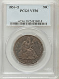 Seated Half Dollars: , 1858-O 50C VF30 PCGS. PCGS Population (14/389). NGC Census:(4/290). Mintage: 7,294,000. Numismedia Wsl. Price for problem ...