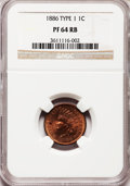 Proof Indian Cents: , 1886 1C Type One PR64 Red and Brown NGC. NGC Census: (79/150). PCGSPopulation (108/99). Mintage: 4,290. Numismedia Wsl. Pr...