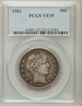 Barber Half Dollars: , 1901 50C VF35 PCGS. PCGS Population (19/327). NGC Census: (2/222).Mintage: 4,268,813. Numismedia Wsl. Price for problem fr...