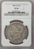 1885-CC $1 VF30 NGC. NGC Census: (2/8829). PCGS Population (10/18012). Mintage: 228,000. Numismedia Wsl. Price for probl...