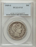 Barber Half Dollars: , 1909-S 50C Fine 15 PCGS. PCGS Population (13/168). NGC Census:(3/76). Mintage: 1,764,000. Numismedia Wsl. Price for proble...