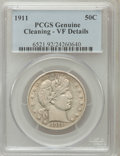 Barber Half Dollars, 1911 50C -- Cleaning -- PCGS. VF Details. PCGS Population (12/415).NGC Census: (1/260). Mintage: 1,406,543. Numismedia Wsl...