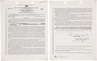 Elvis Presley Signed William Morris Agency Motion Picture Contract (1956)