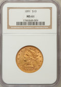 Liberty Eagles: , 1891 $10 MS61 NGC. NGC Census: (270/265). PCGS Population(107/168). Mintage: 91,868. Numismedia Wsl. Price for problemfre...