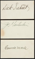Baseball Collectibles:Others, Mack, Gantenbein and Siebert Signed Index Cards Lot of 3....