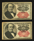 Fractional Currency:Fifth Issue, Fr. 1308 25¢ Fifth Issue Two Examples Very Fine.. ... (Total: 2notes)