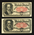 Fractional Currency:Fifth Issue, Fr. 1381 50¢ Fifth Issue Two Examples Extremely Fine.. ... (Total:2 notes)