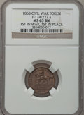 Civil War Patriotics, 1863 First in War, First in Peace MS63 Brown NGC. Fuld-174/272a....