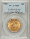 Liberty Eagles: , 1901-S $10 MS63 PCGS. Ex: Rive d'Or Collection. PCGS Population (4966/4565). NGC Census: (5558/5276). Mintage: 2,812,750. N...