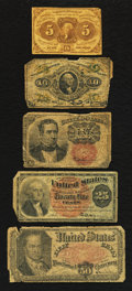 Fractional Currency:First Issue, Heavily Circulated Fractional Grouping About Good or Better.. ... (Total: 5 notes)