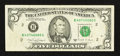 Error Notes:Foldovers, Fr. 1980-B $5 1988A Federal Reserve Note. Very Fine.. ...