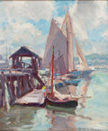 Fine Art - Painting, American:Contemporary   (1950 to present)  , EMILE ALBERT GRUPPE (American, 1896-1978). Drying the Sails.Oil on canvas board . 12 x 10 inches (30.5 x 25.4 cm). Sign...