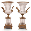 Decorative Arts, Continental:Other , A PAIR OF CUT GLASS AND GILT BRASS PEDESTAL URNS . 20th century .19-1/4 inches high (48.9 cm). ... (Total: 2 Items)