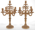 Decorative Arts, French:Other , A PAIR OF FRENCH FIVE-LIGHT GILT BRONZE CANDELABRA . Circa 1900. 19inches high (48.3 cm). ... (Total: 2 Items)