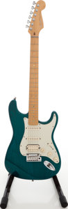 Musical Instruments:Electric Guitars, 1998 Fender Stratocaster USA Trans Green Solid Body ElectricGuitar, Serial # DN819137....