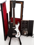 Musical Instruments:Electric Guitars, 1960s Silvertone 1448 Amp-in-Case Black Solid Body Electric Guitar....