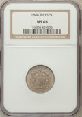 Shield Nickels: , 1866 5C Rays MS63 NGC. NGC Census: (268/724). PCGS Population(335/589). Mintage: 14,742,500. Numismedia Wsl. Price for pro...