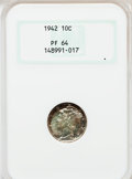 Proof Mercury Dimes: , 1942 10C PR64 NGC. PCGS Population (1170/3914). NGC Census:(482/3241). Mintage: 22,329. Numismedia Wsl. Price for problem ...