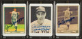 Baseball Collectibles:Others, Joe DiMaggio Signed Ceramic Cards Lot of 3....