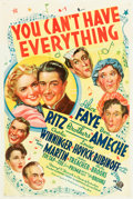 "Movie Posters:Musical, You Can't Have Everything (20th Century Fox, 1937). One Sheet (27"" X 41""). Musical.. ..."