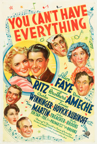 "You Can't Have Everything (20th Century Fox, 1937). One Sheet (27"" X 41""). Musical"
