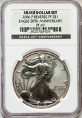 Modern Bullion Coins, 2006-P $1 Reverse Proof Silver Eagle, 20th Anniversary PR69 NGC.NGC Census: (39625/9706). PCGS Population (12273/1771). N...