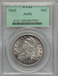 Bust Half Dollars, 1820 50C Square Base No Knob 2, Large Date AU55 PCGS. O-106,R.1....