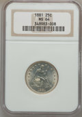 Seated Quarters, 1881 25C MS64 NGC....