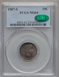 Barber Dimes, 1907-S 10C MS64 PCGS. CAC....
