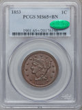 Large Cents, 1853 1C MS65+ Brown PCGS. CAC. N-20, R.3....