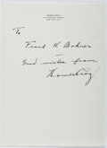 Autographs:Authors, Homer Croy (1883-1965, American Writer). Autograph Letter Signed.Very good....