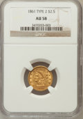 Liberty Quarter Eagles: , 1861 $2 1/2 New Reverse, Type Two AU58 NGC. NGC Census: (457/1074).PCGS Population (231/583). Mintage: 1,283,878. Numismed...