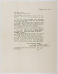 Autographs:Authors, John Bennett (1865-1956, American Writer). Autograph Letter Signed.Very good....