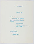 Autographs:Statesmen, James F. Byrnes (1882-1972, American Statesman). Typed LetterSigned. Very good....