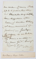 Autographs:Authors, Frances Power Cobbe (1822-1904, British Feminist and Writer).Autograph Letter Signed. Good....