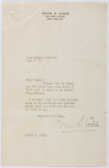 Autographs:Authors, Irvin S. Cobb (1876-1944, American Writer). Autograph LetterSigned. Good....
