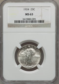 Standing Liberty Quarters: , 1924 25C MS63 NGC. NGC Census: (103/374). PCGS Population(165/391). Mintage: 10,920,000. Numismedia Wsl. Price forproblem...