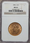 Liberty Eagles: , 1896 $10 MS63 NGC. NGC Census: (210/19). PCGS Population (135/9).Mintage: 76,200. Numismedia Wsl. Price for problem free N...