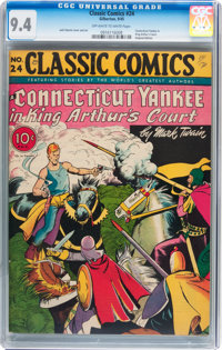 Classic Comics #24 A Connecticut Yankee in King Arthur's Court (Gilberton, 1945) CGC NM 9.4 Off-white to white pages