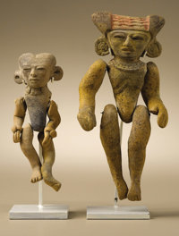 Two Articulated Figures (A,B) Teotihuacan A.D. 300 - 600 Ceramic (A,B), traces of original paint (B) (A) Height 4 5/8 in...