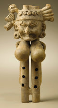 Pre-Columbian:Ceramics, Double-chambered Flute with Head of an Old Person with Balloon-likeBreasts. Veracruz. A.D. 300 - 600. Buff ceramic. Height ...