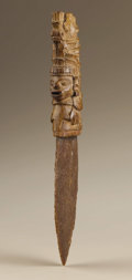 Pre-Columbian:Weapons/Misc., Knife with Carved Wood Handle. Aztec-Mixtec. A.D. 1300 - 1521. Wood and Chert, Weight 38 grams. Height 13 in. Width 1 1/2 in...